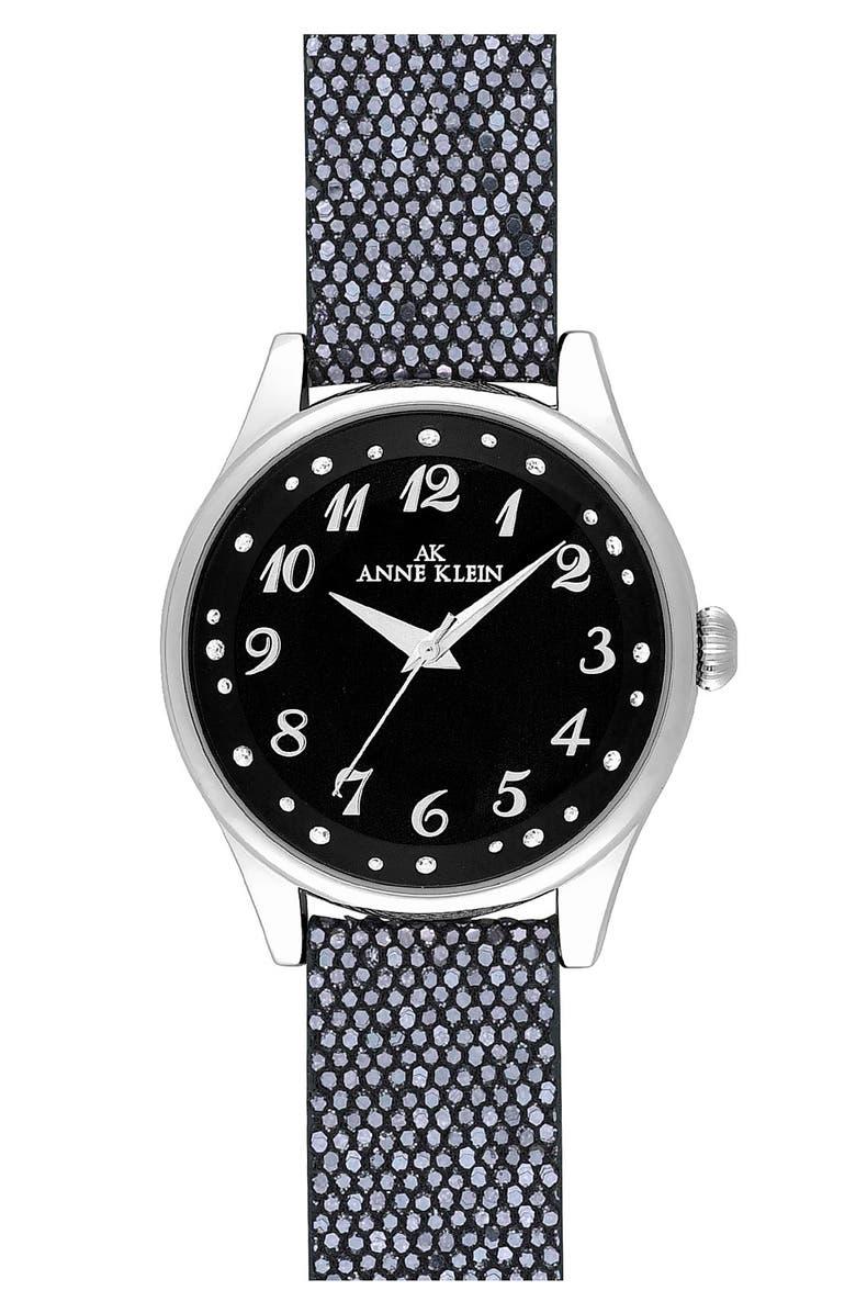ANNE KLEIN AK Anne Klein Glitter Strap Watch, Main, color, 001