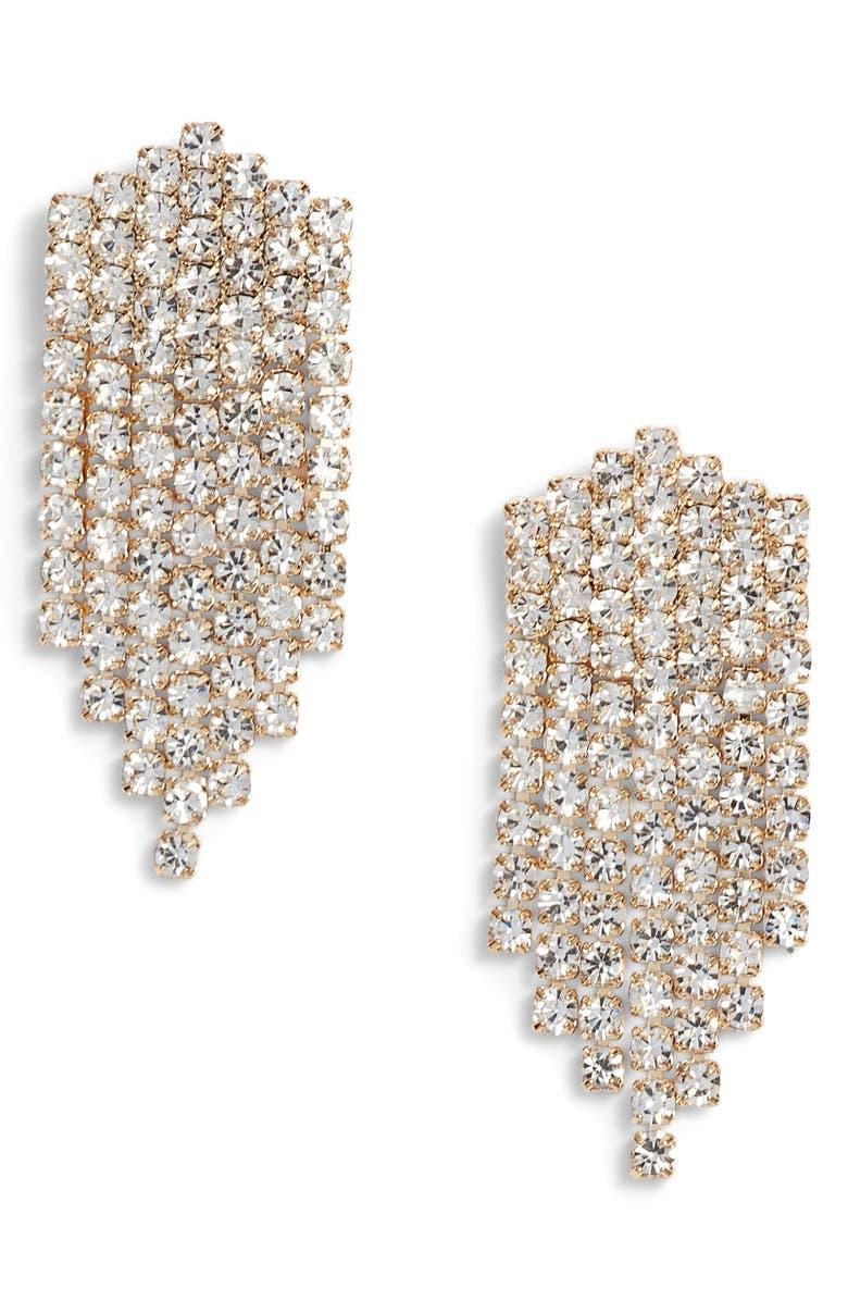 SOMETHING NAVY Rhinestone Chandelier Earrings, Main, color, 710