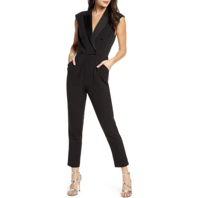 Harlyn Double Breasted Tuxedo Sleeveless Jumpsuit, Black