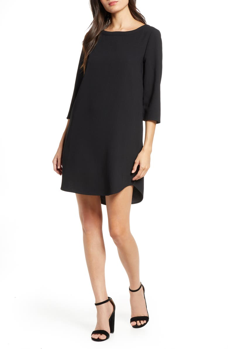 BB DAKOTA 'Jazlyn' Crepe Shift Dress, Main, color, BLACK