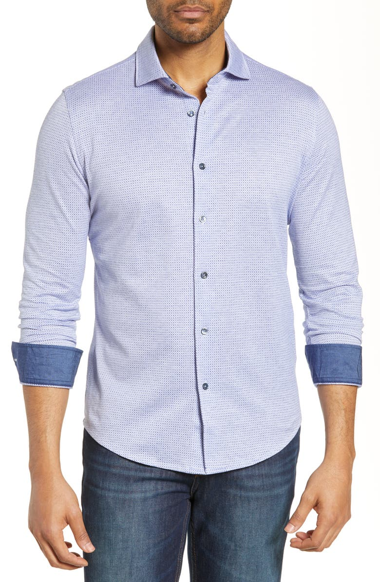BUGATCHI Knit Shirt, Main, color, NAVY