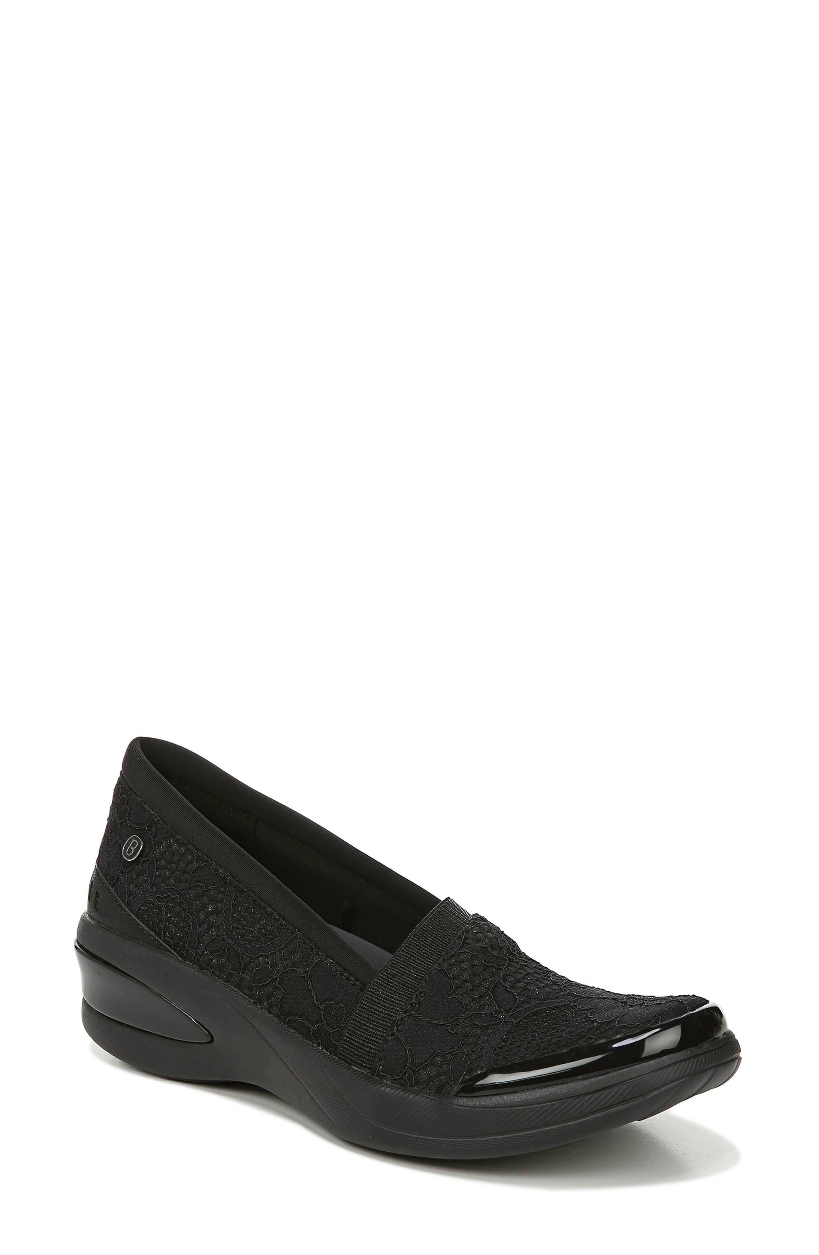 Bzees Flirty Slip-On Wedge Sneaker- Black