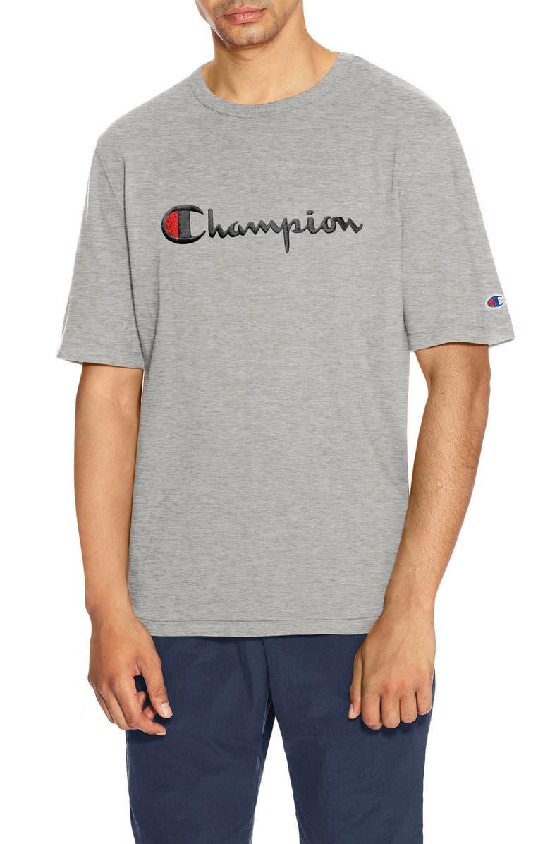 CHAMPION Heritage Script Logo T-Shirt, Main, color, OXFORD GREY
