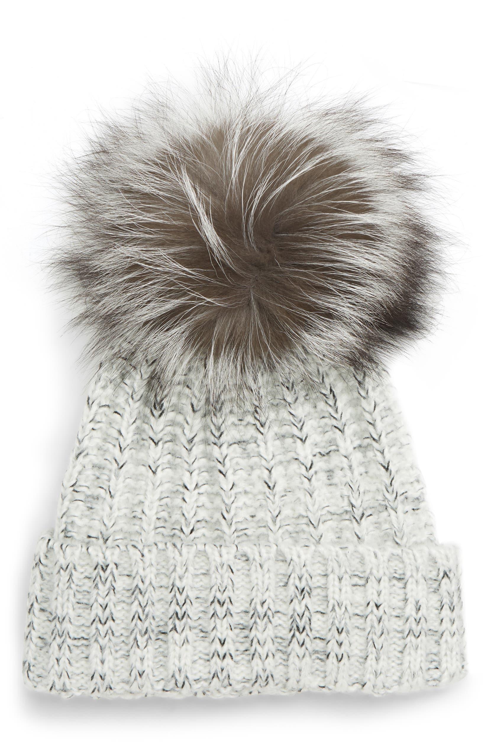5d90b9a8c1038 Kyi Kyi Beanie with Genuine Fox Fur Pom