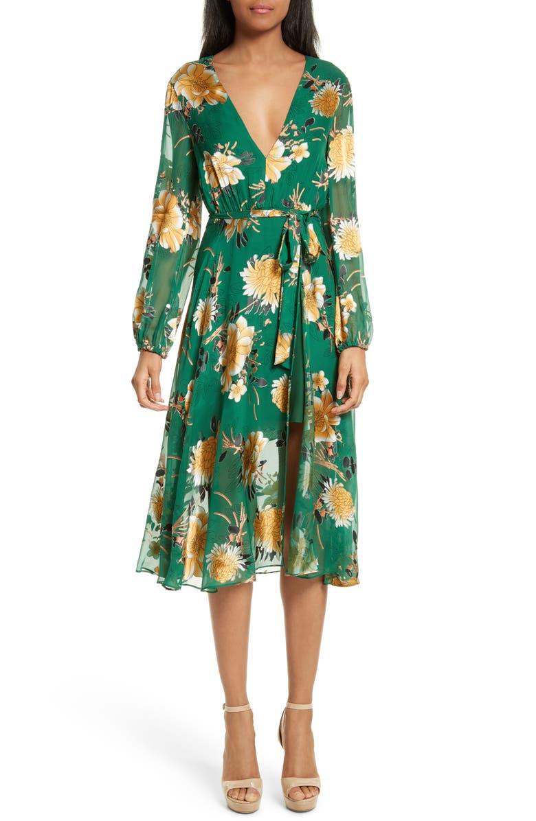 ALICE + OLIVIA Coco Floral Print A-Line Dress, Main, color, 308
