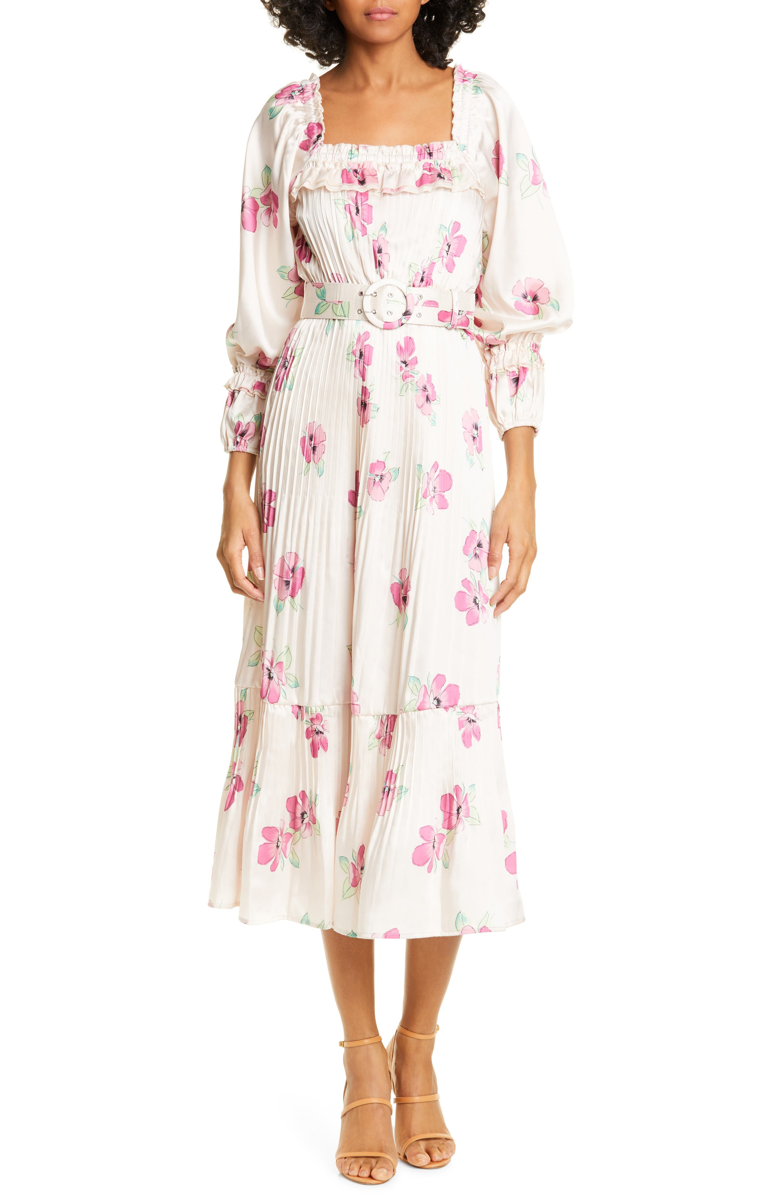 Nicholas Floral Print Pleated Midi Prairie Dress