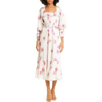 Nicholas Floral Print Pleated Midi Prairie Dress