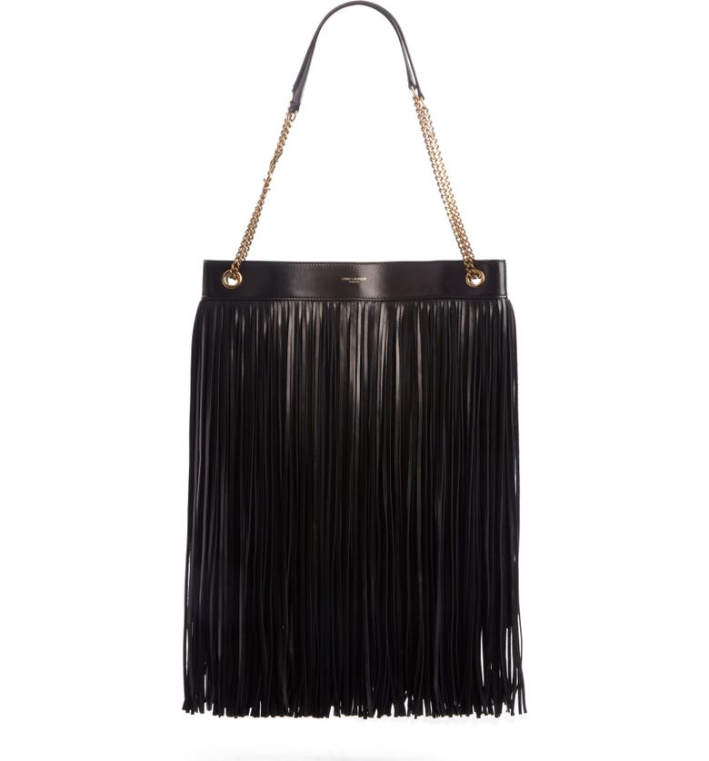 SAINT LAURENT Large Grace Fringe Leather Hobo, Main, color, NOIR