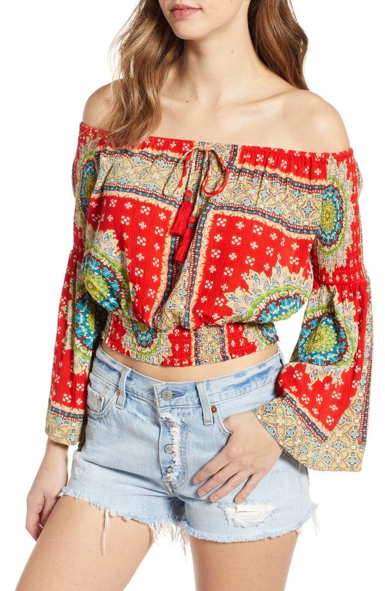 BAND OF GYPSIES Perth Off the Shoulder Top, Main, color, 600