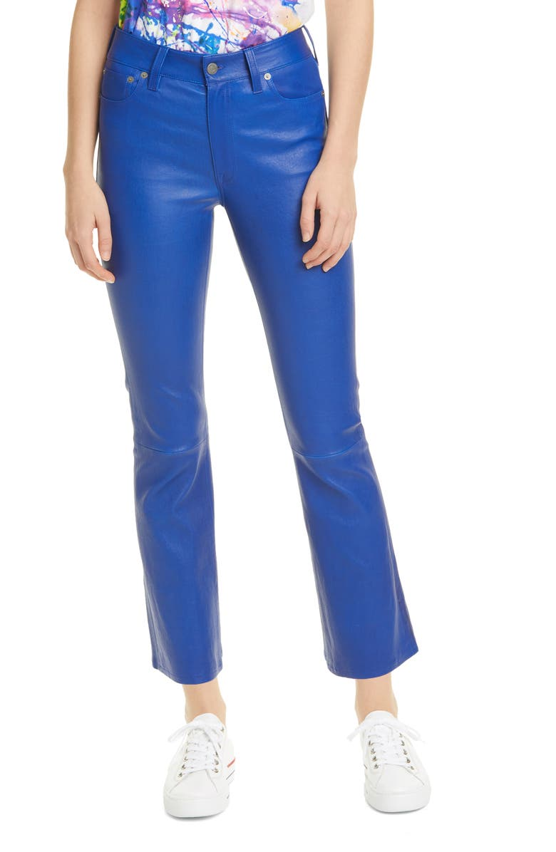 POLO RALPH LAUREN Leather Crop Pants, Main, color, RUGBY ROYAL