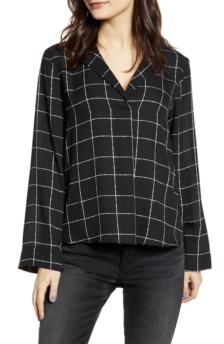 ALL IN FAVOR Harper Long Sleeve Top, Main, color, BLACK WINDOW PANE