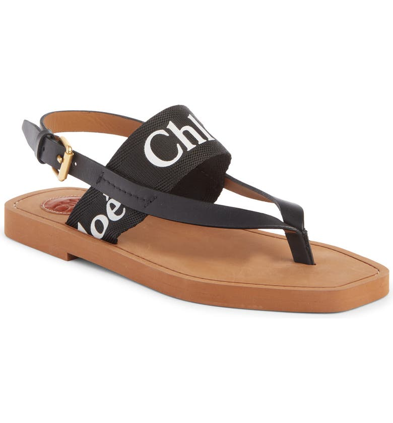 CHLOÉ Woody Logo Sandal, Main, color, BLACK