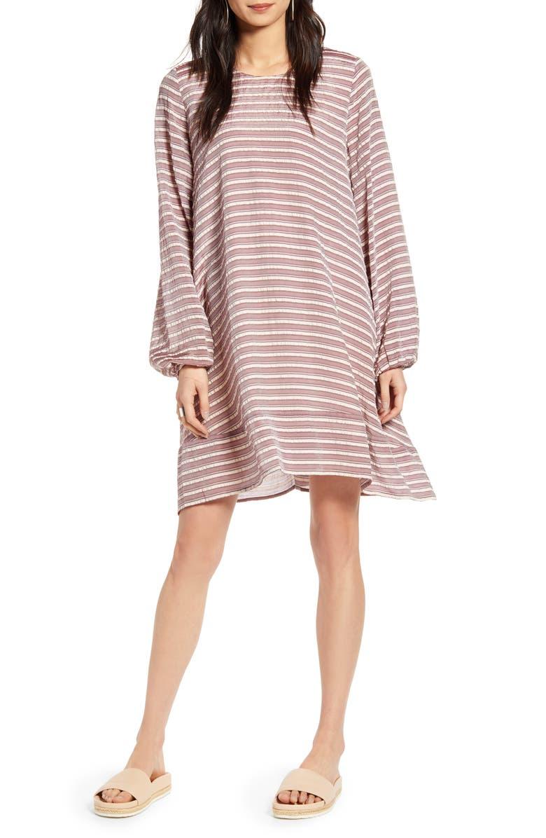 TREASURE & BOND Stripe Long Sleeve Swing Dress, Main, color, BURGUNDY ANNA STRIPE