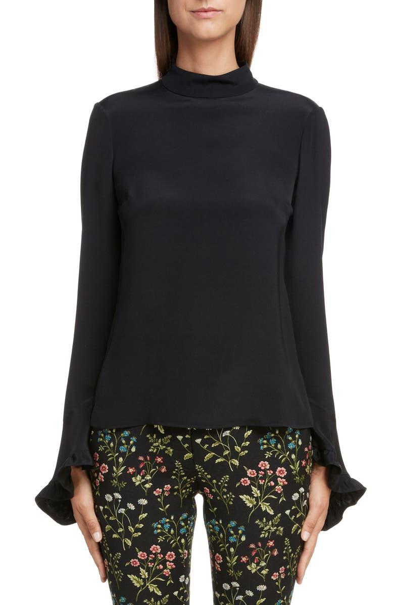 ERDEM Silk Cady Bell Sleeve Blouse, Main, color, 001