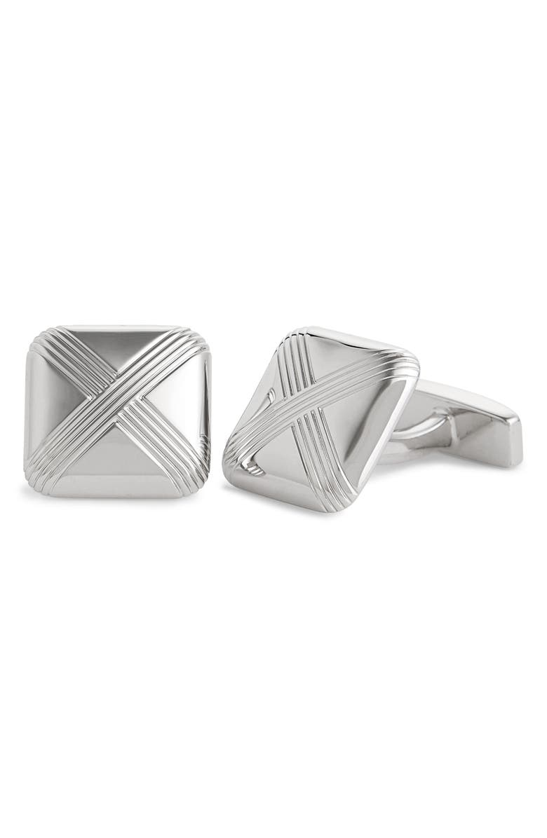 BOSS Square Cuff Links, Main, color, SILVER