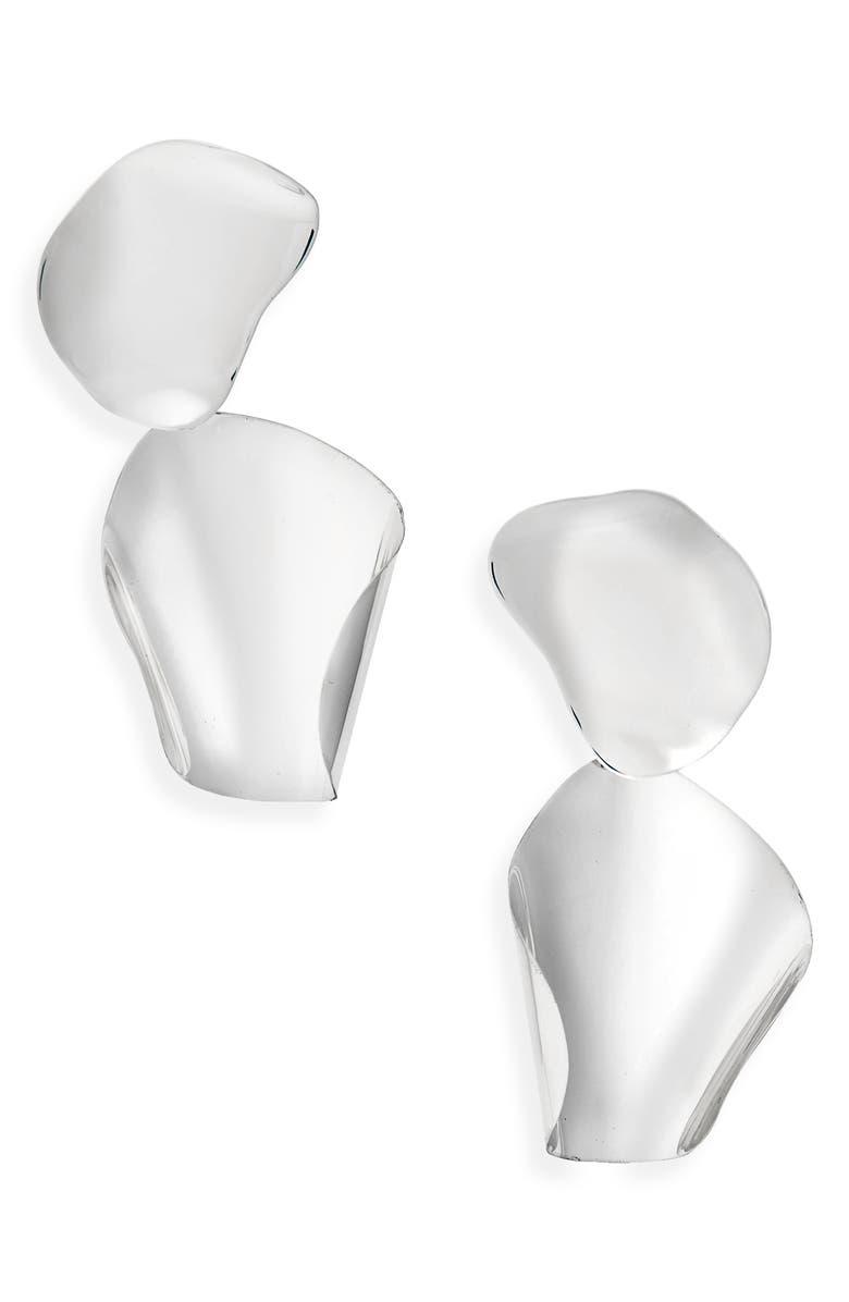 FARIS Drape Drop Earrings, Main, color, STERLING SILVER