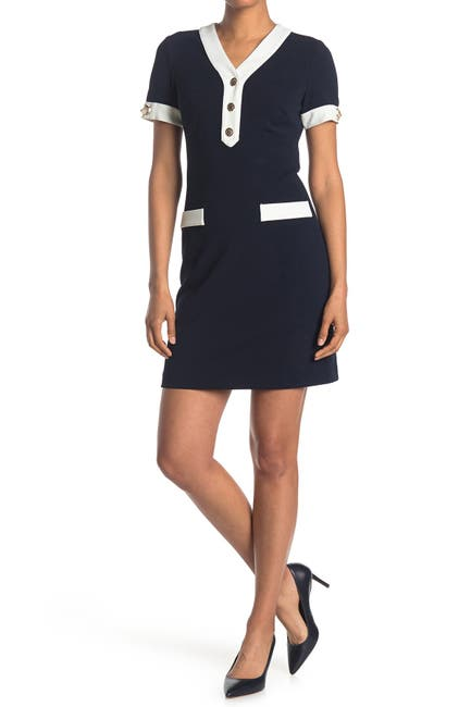 Image of Tommy Hilfiger V-Neck Short Sleeve Scuba Crepe Dress