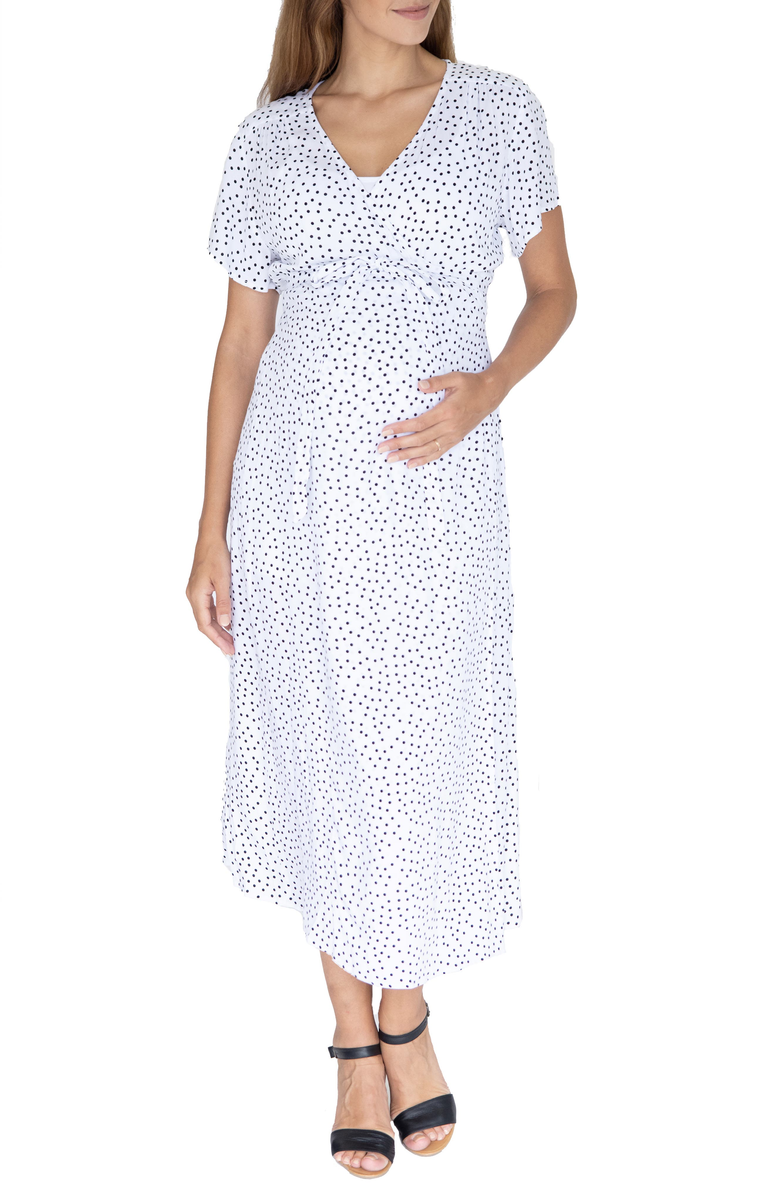 Vintage Maternity Clothes History Womens Angel Maternity Polka Dot Empire Waist Maternitynursing Dress Size Small - White $69.95 AT vintagedancer.com