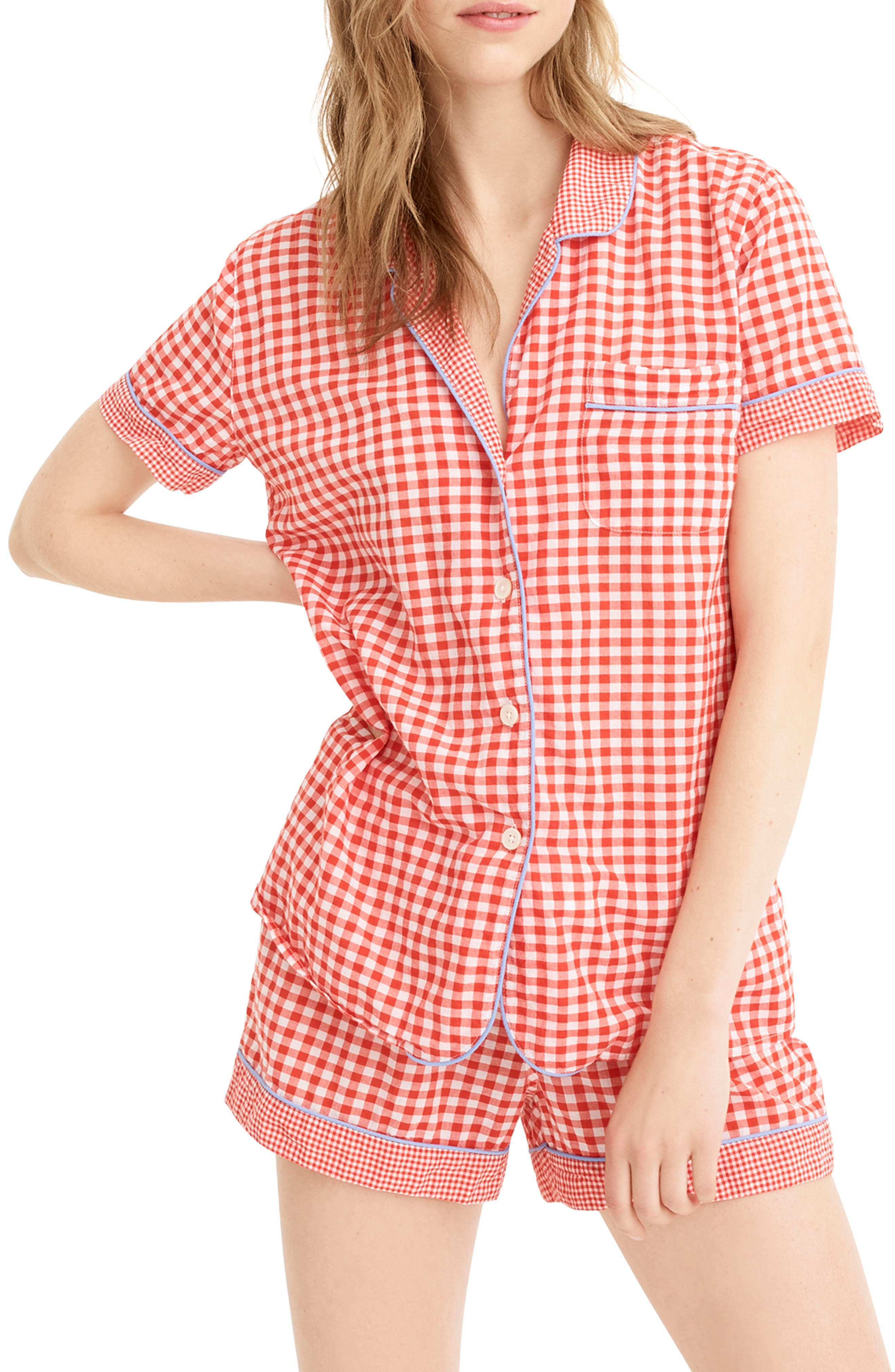 Plus Size J.crew Mixed Gingham Cotton Pajama Top, Size - Red