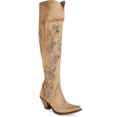 Lane Hard To Handle Over The Knee Western Boot- Ivory