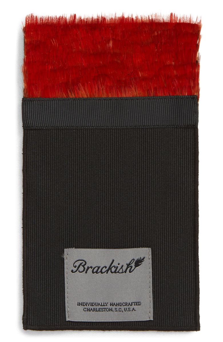BRACKISH & BELL Archibald Feather Pocket Square, Main, color, RED