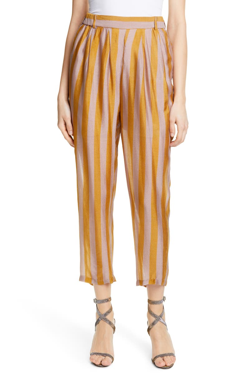 MES DEMOISELLES Havas Stripe Silk Pants, Main, color, 701