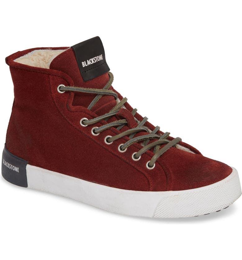 BLACKSTONE QL70 Genuine Shearling Lined Sneaker, Main, color, WINE LEATHER