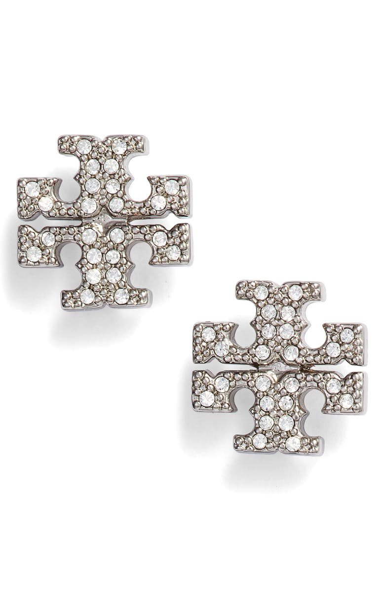 934c84c75 Crystal Logo Stud Earrings, Main, color, TORY SILVER / CRYSTAL