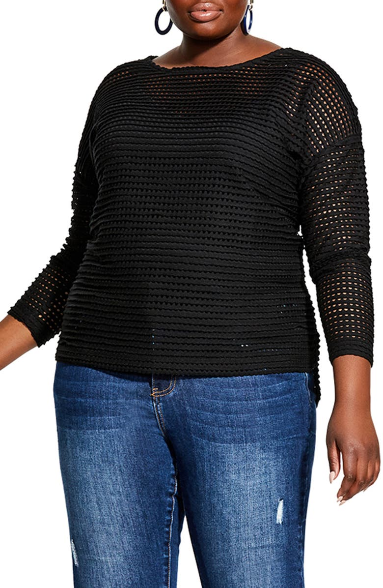 CITY CHIC Soft Touch Sweater, Main, color, BLACK