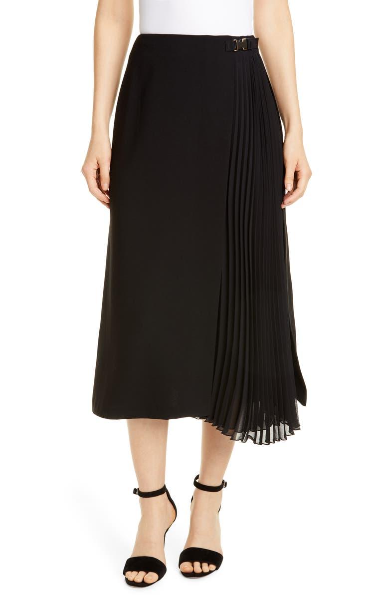 SEVENTY Black Midi Skirt, Main, color, BLACK
