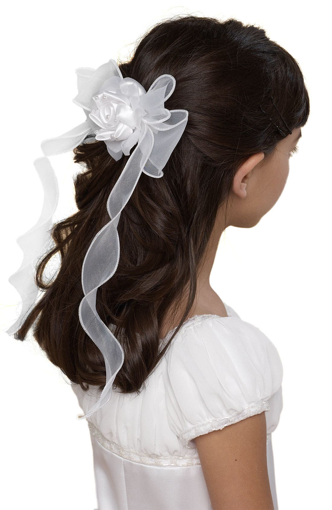 Organza Bow Barrette, Main, color, 100