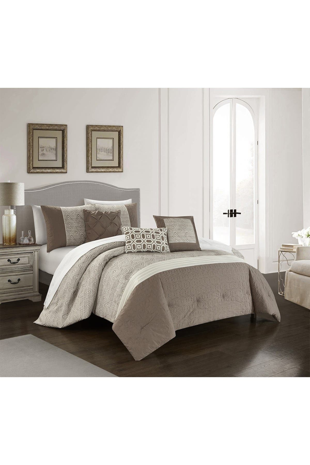 Image of Chic Home Bedding Imala Jacquard Geometric Pattern With Pleated And Quilted Details Queen Comforter Set - Beige - 6-Piece Set