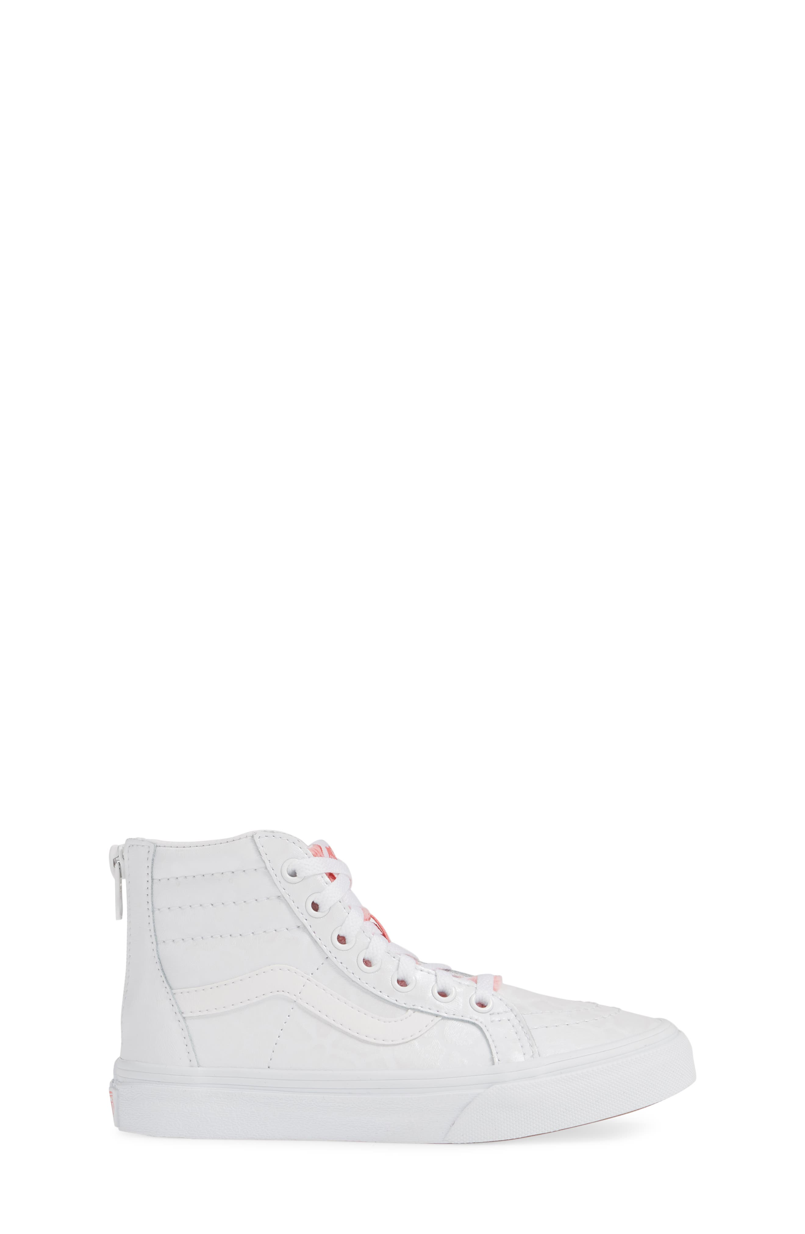 ,                             SK8-Hi Zip Leather & Faux Fur Sneaker,                             Alternate thumbnail 3, color,                             WHITE GIRAFFE TRUE WHITE/ PINK