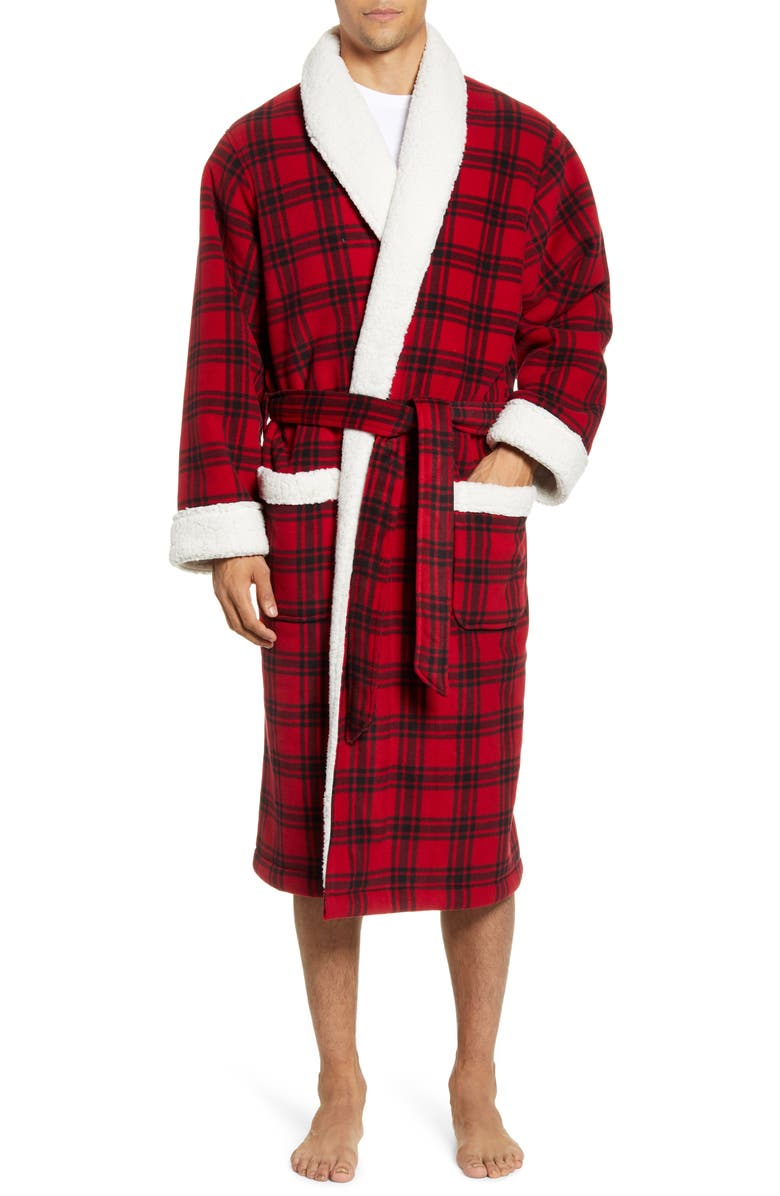NORDSTROM MEN'S SHOP Plaid Fleece Robe with Faux Shearling Lining, Main, color, 600