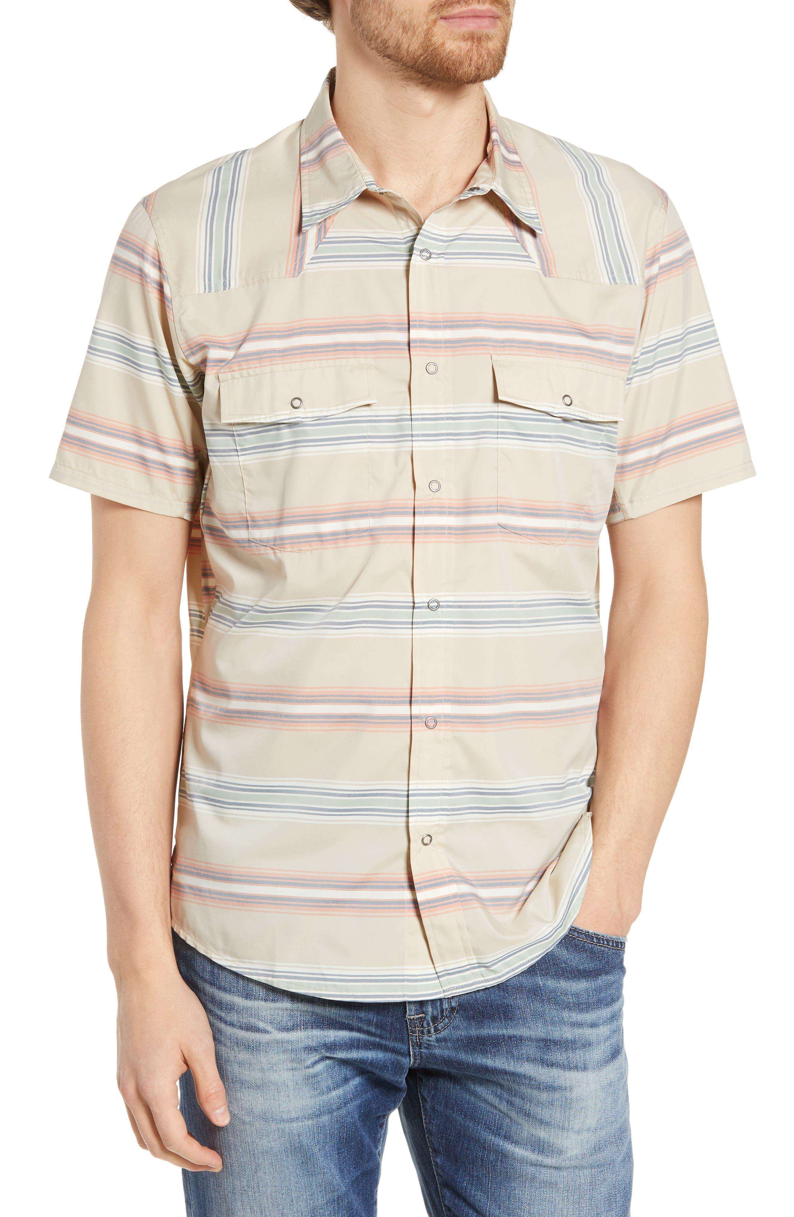 Patagonia Bandito Regular Fit Short Sleeve Sport Shirt, Beige