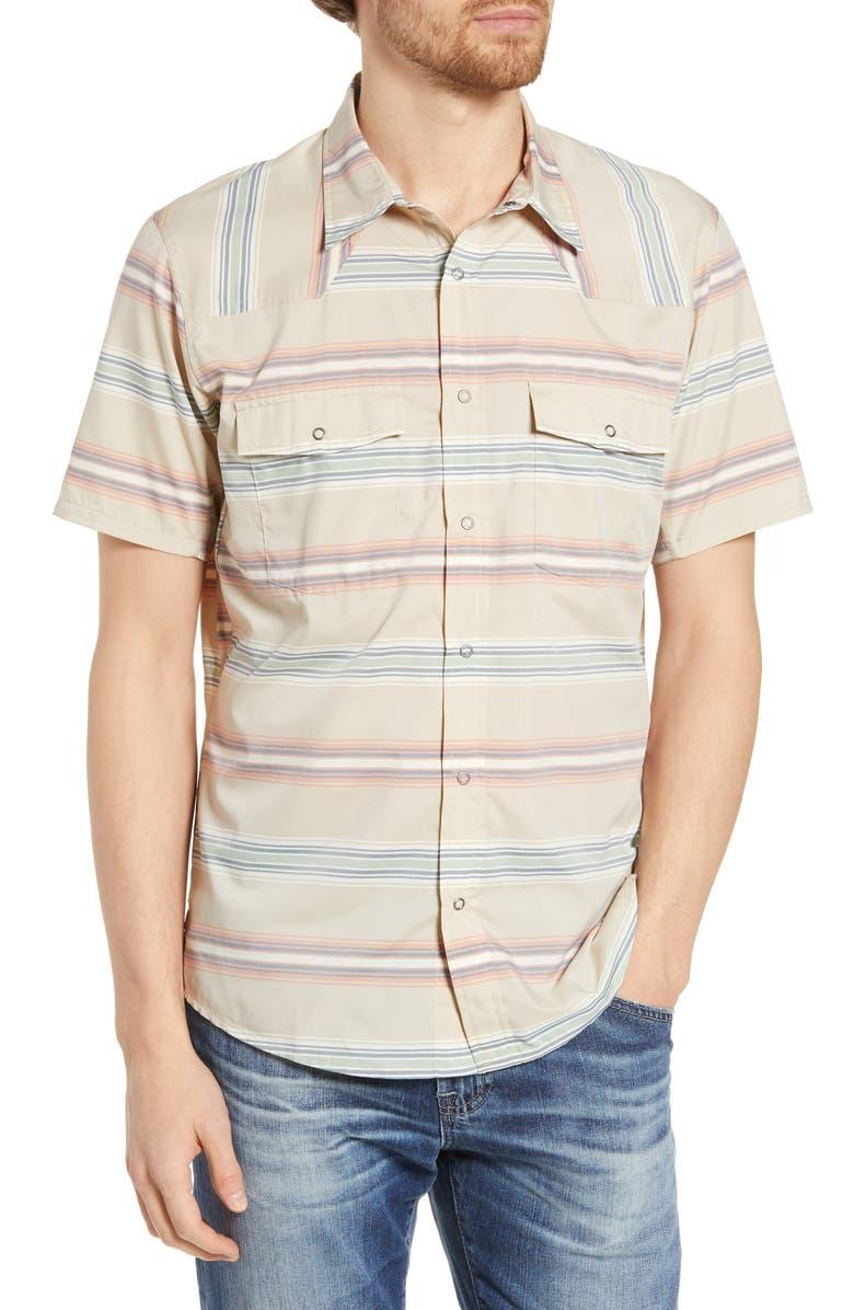 PATAGONIA Bandito Regular Fit Short Sleeve Shirt, Main, color, TARKINE STRIPE EL CAP KHAKI