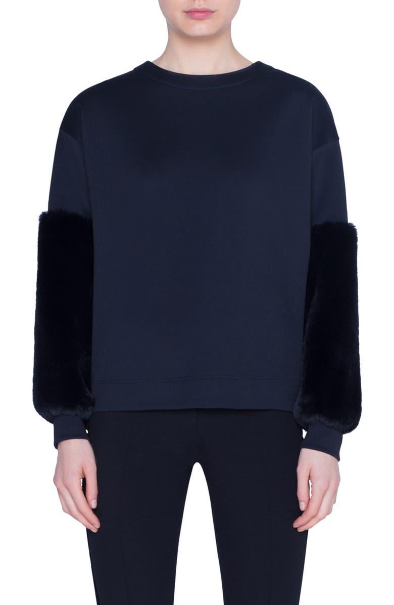 AKRIS PUNTO Faux Fur & Neoprene Top, Main, color, BLACK