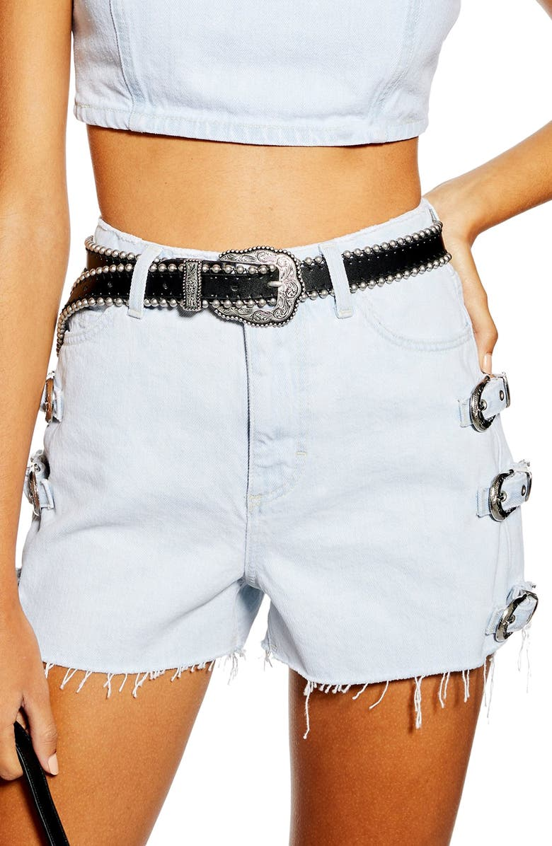 1ce91dc565 West Buckle Denim Shorts, Main, color, BLEACH