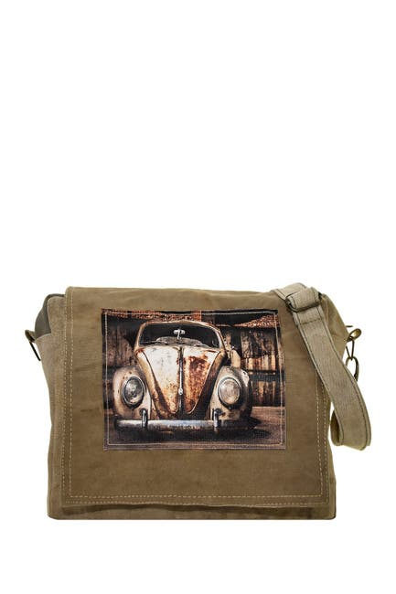 Image of Vintage Addiction Vintage VW Beetle Recycled Military Tent Crossbody Bag