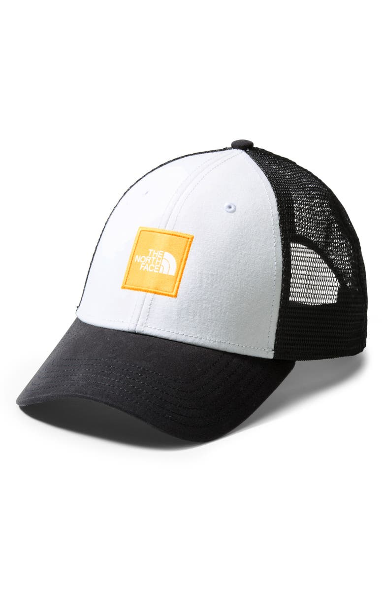 THE NORTH FACE Box Logo Trucker Hat, Main, color, TNF WHITE/TNF YELLOW/TNF BLACK
