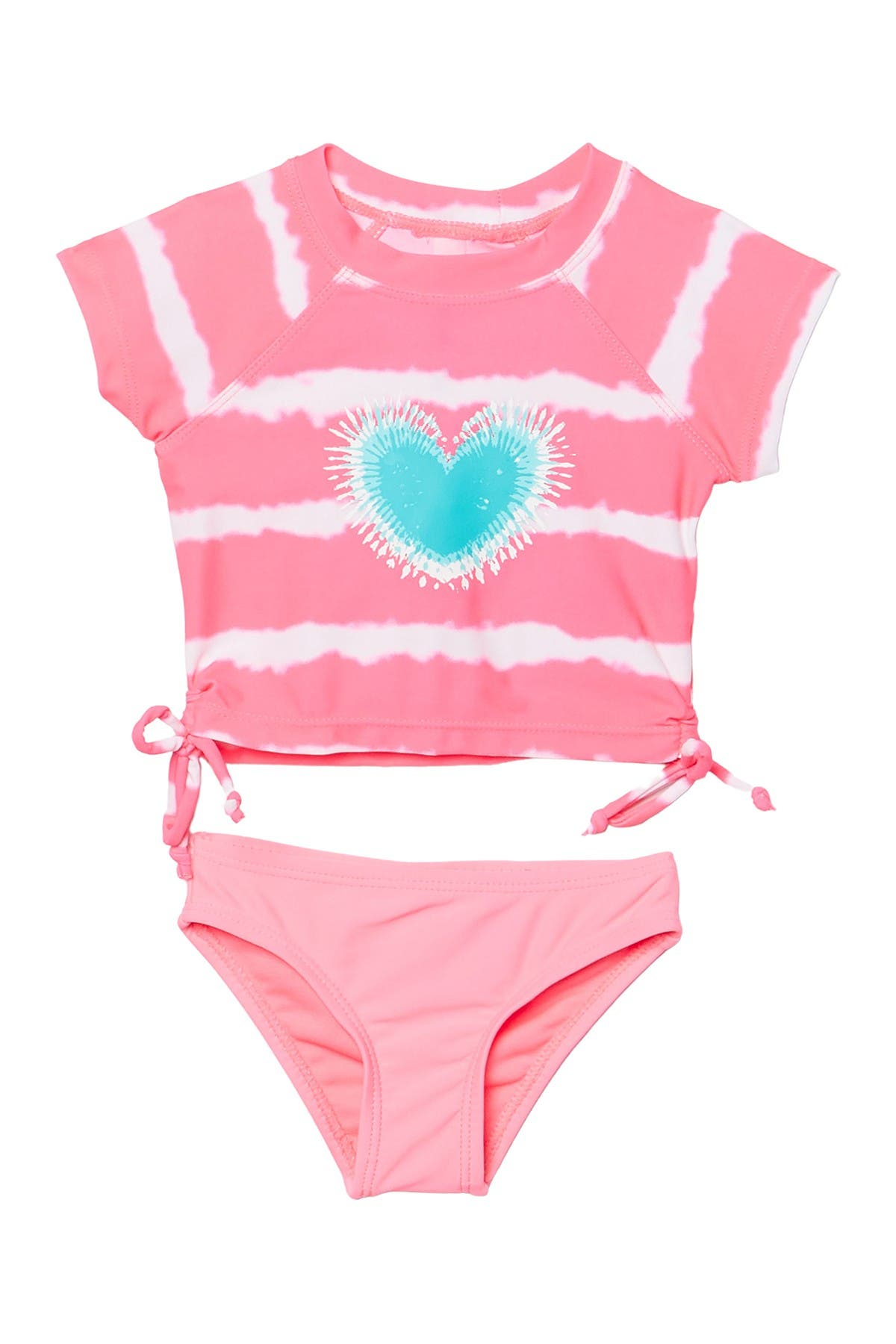 Image of Kensie Girl Tie Dye Stripe Print Rashguard 2-Piece Set