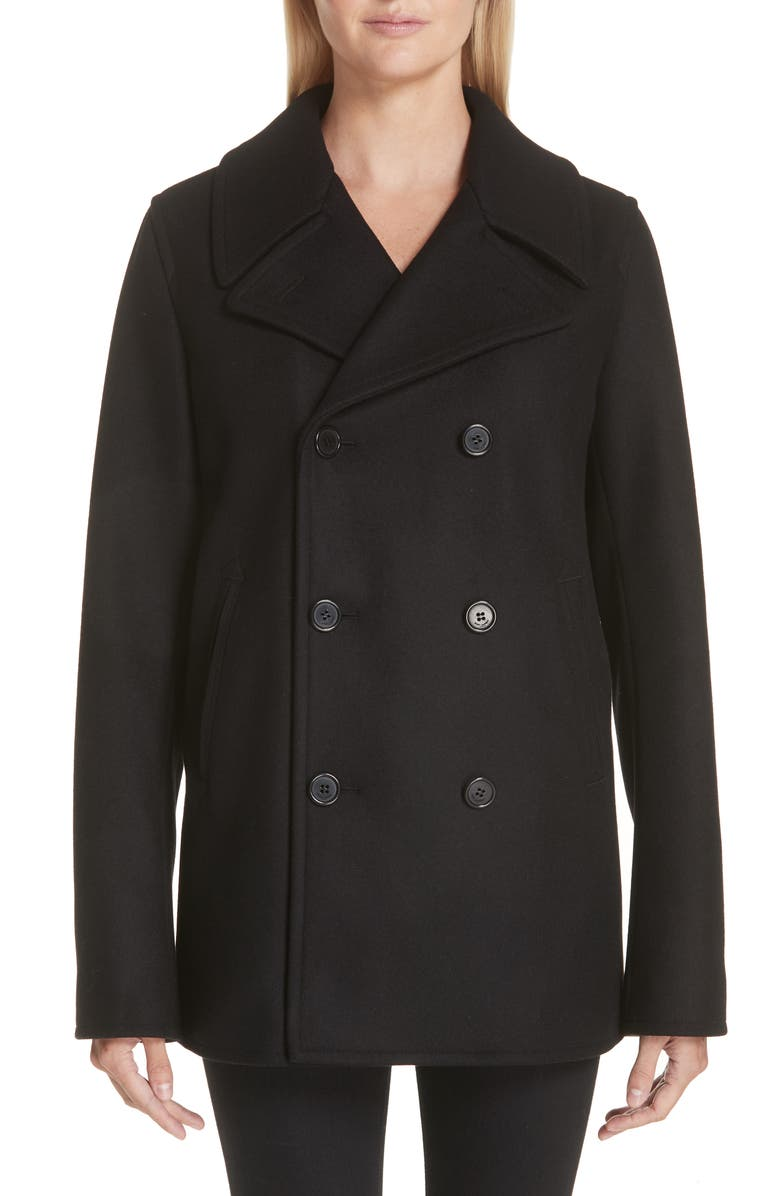 SAINT LAURENT Wool Peacoat, Main, color, NOIR