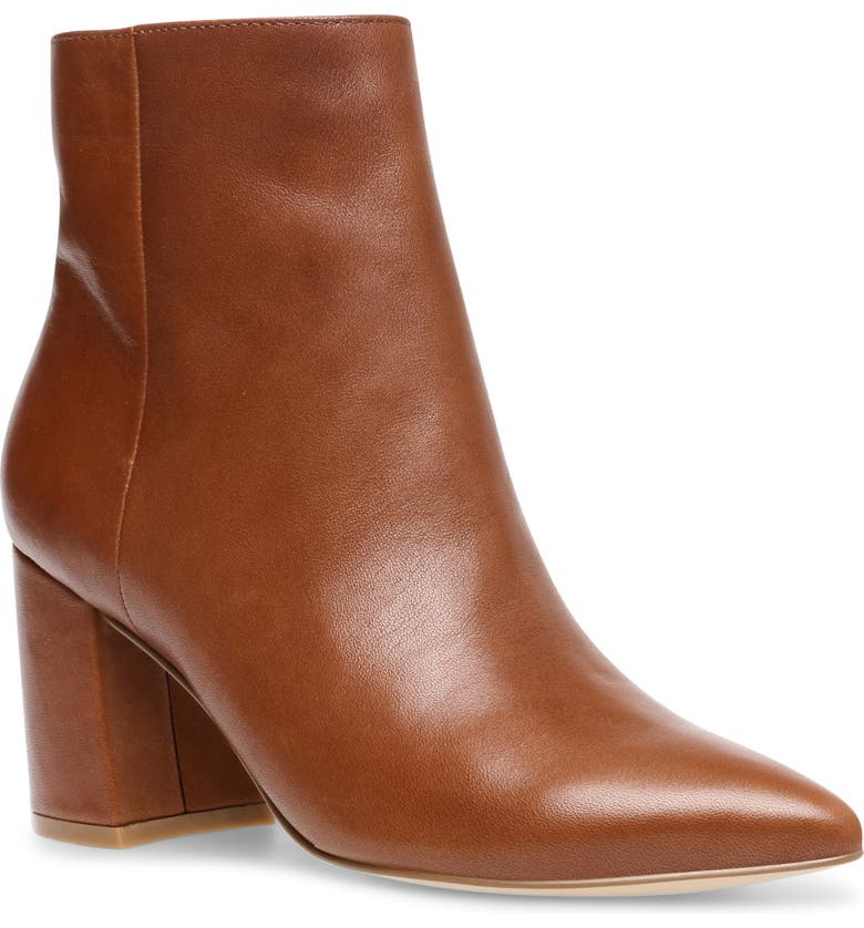 STEVE MADDEN Nadalie Pointed Toe Bootie, Main, color, COGNAC LEATHER
