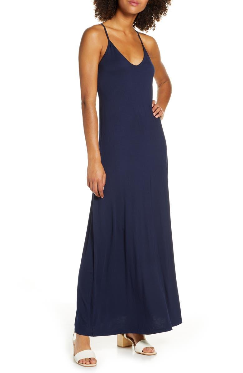 FRAICHE BY J Racerback V-Neck Maxi Dress, Main, color, NAVY