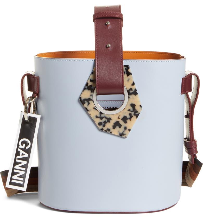 GANNI Leather Bucket Bag, Main, color, FOREVER BLUE