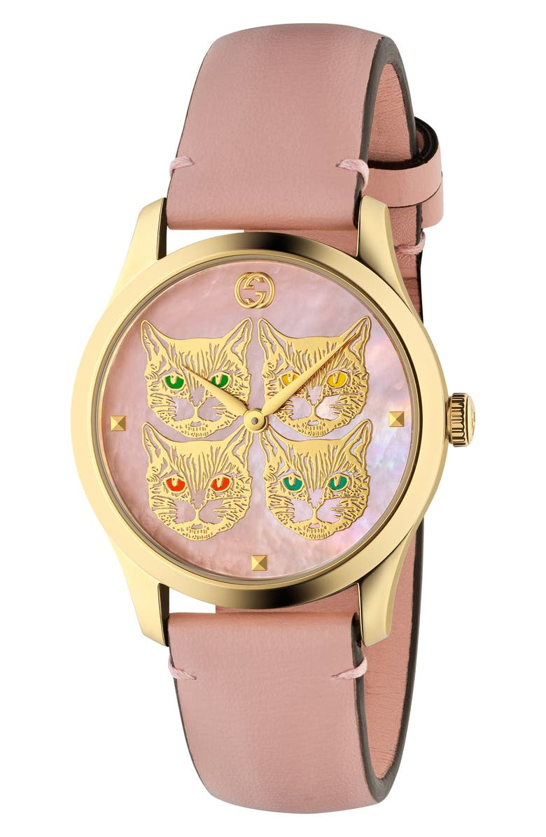 GUCCI G-Timeless Leather Strap Watch, 38mm, Main, color, PINK/ MOP/ GOLD
