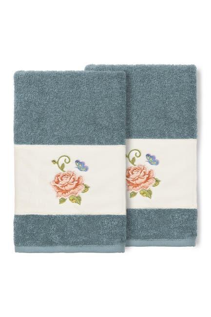 Image of LINUM HOME Teal Rebecca Embellished Hand Towel - Set of 2