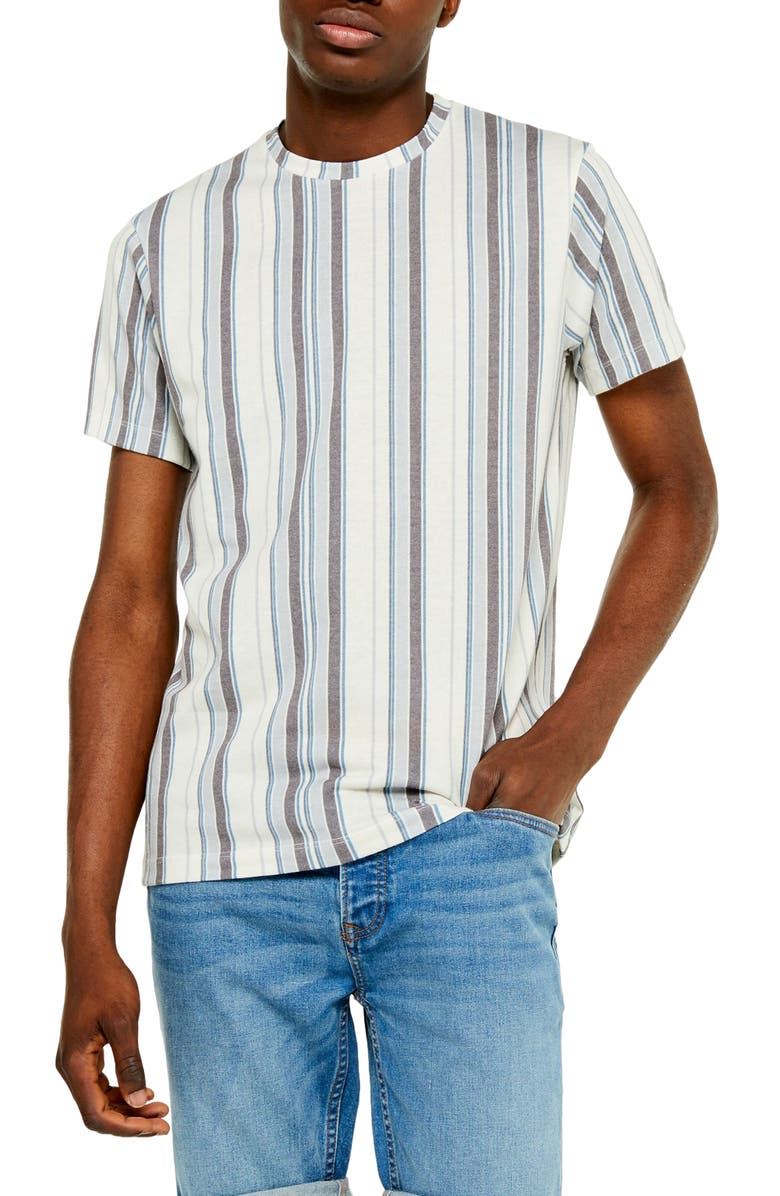 TOPMAN Classic Fit Stripe T-Shirt, Main, color, WHITE MULTI