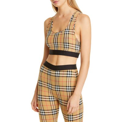 Burberry Dalby Vintage Check Sports Bra, Yellow