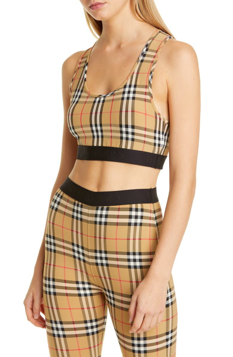 BURBERRY Dalby Vintage Check Sports Bra, Main, color, ANTIQUE YELLOW CHK